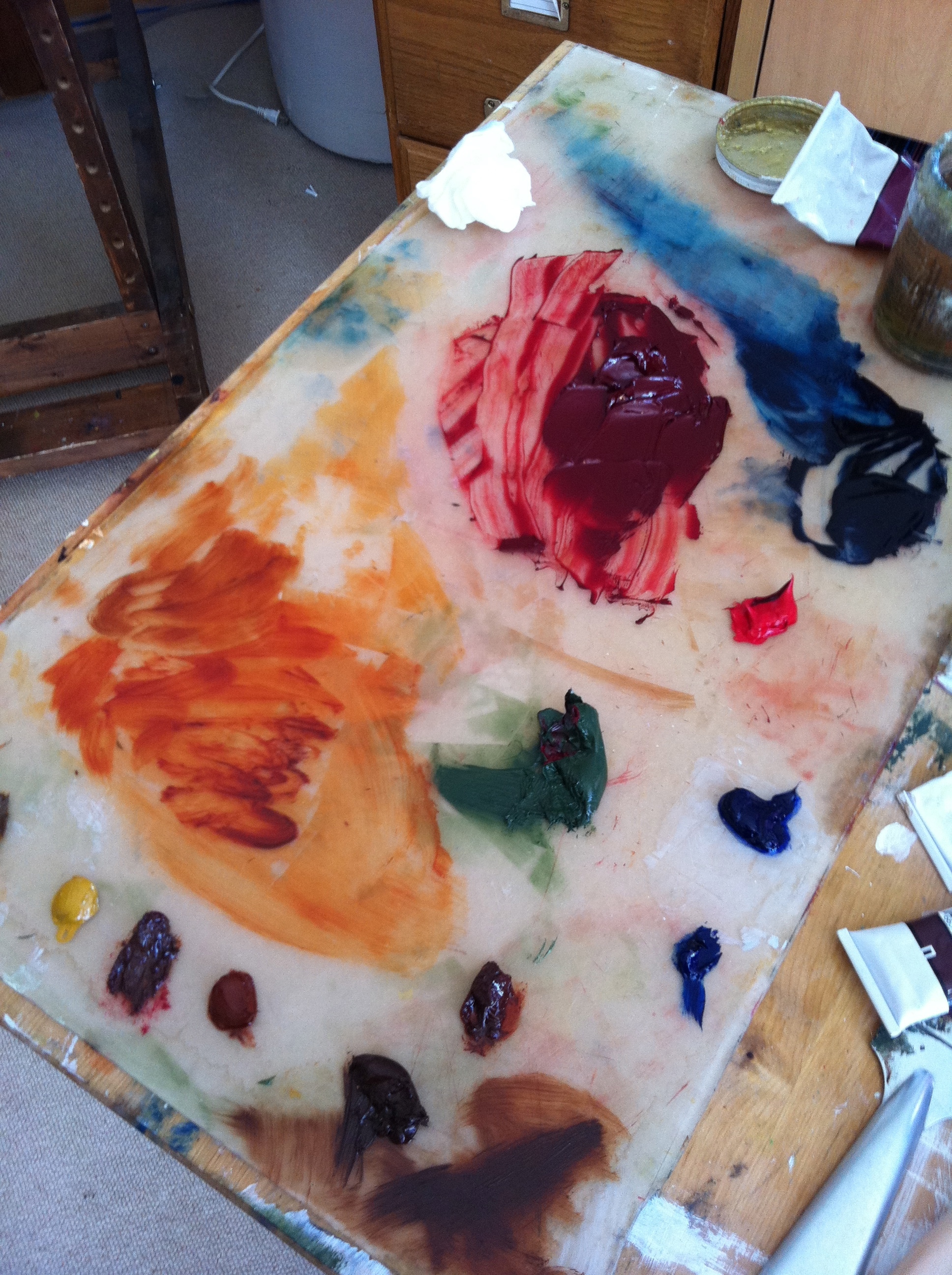 The Palette with oil paints