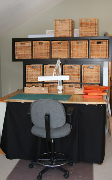 Drafting table work area and shelving