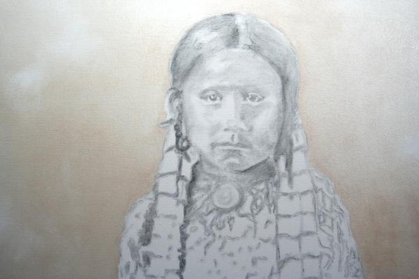 """Daughter of..."" #1 ©2011 Janice Tanton. 30x30 oil on linen."