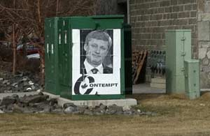 Street Art Protest of Harper Government, Canmore, AB