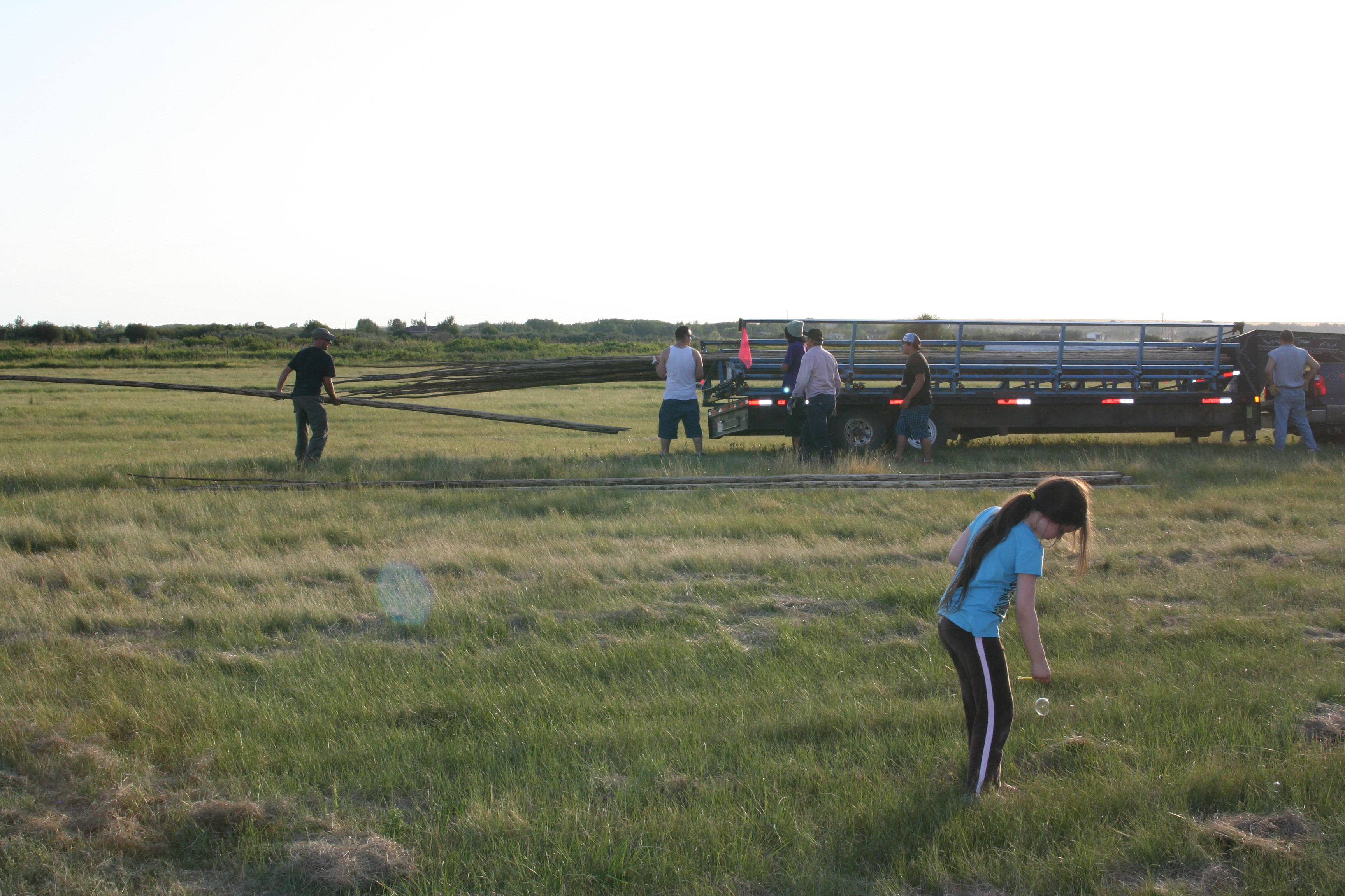 Kevin unloads a pole