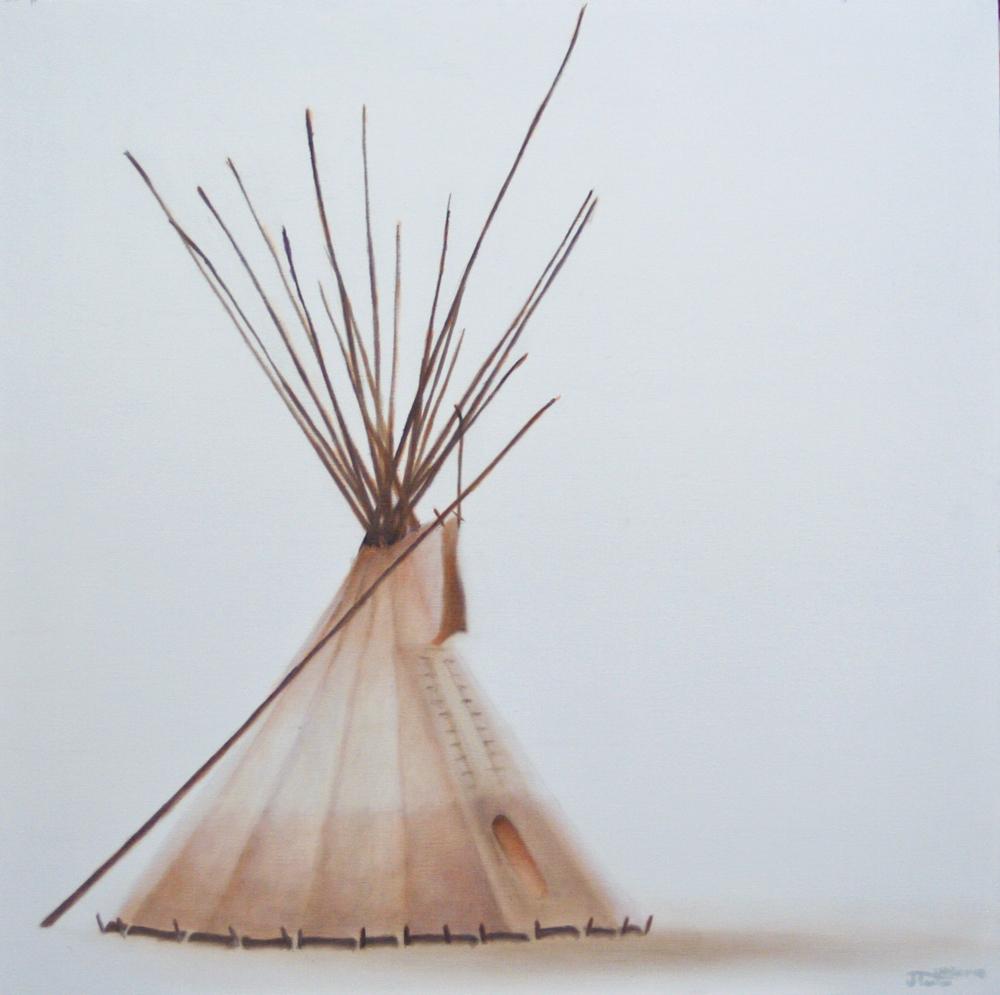 """Little Sister Lodge"" - ©2011 Janice Tanton. 30x30 Oil on linen."