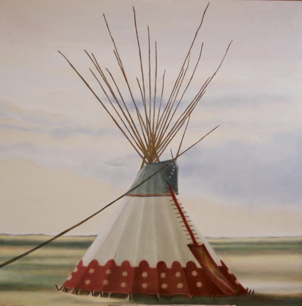 """""""Cousin's Lodge"""" - ©2011 Janice Tanton. 48x48 Oil on linen."""