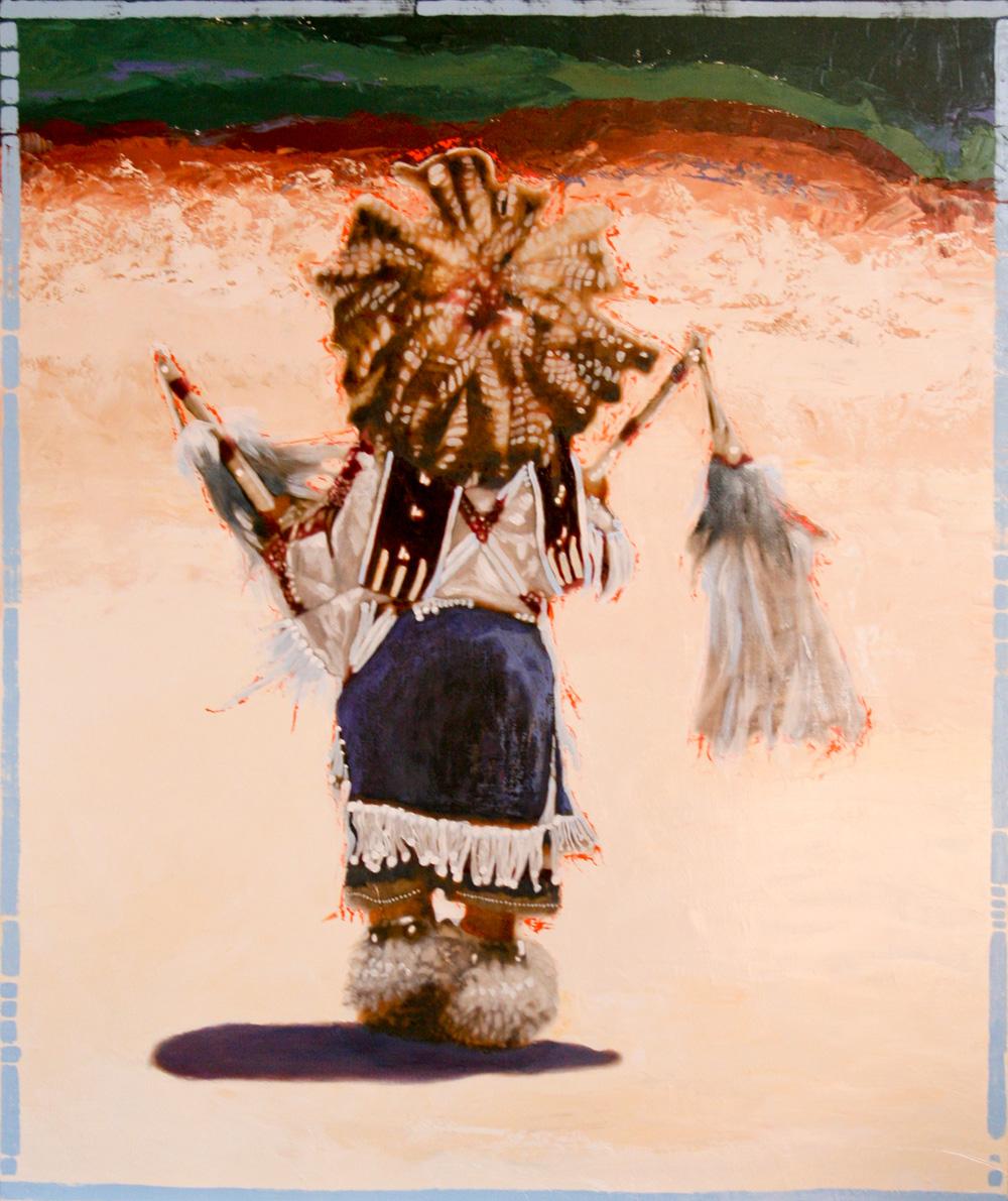 """Little Dancer"" ©2011 Janice Tanton. 48x42 Mixed media oil on linen."