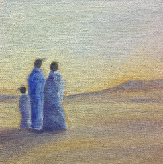 """Three Waiting"" ©2012 Janice Tanton. Oil on linen panel. 8""x8"""