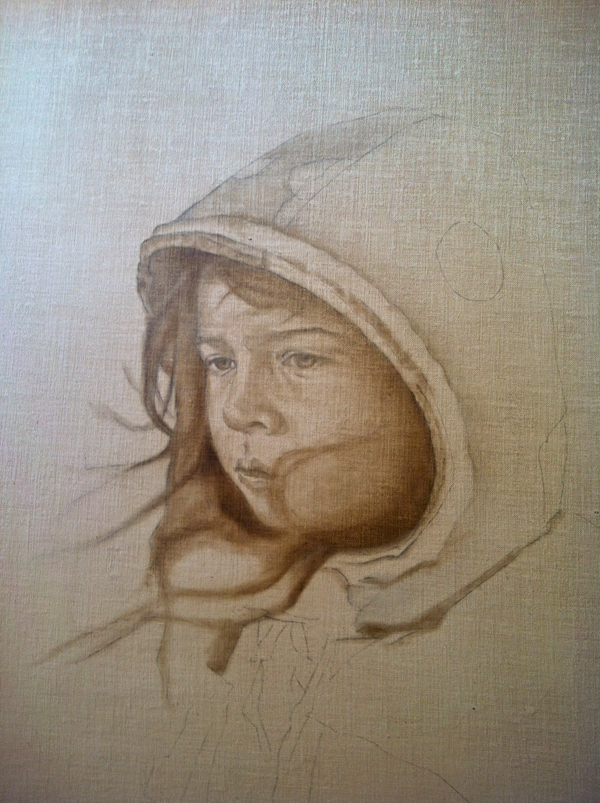 """The Artist's Daughter"" Work In Progress ©2012 Janice Tanton. Oil on linen panel. 14""x18"""