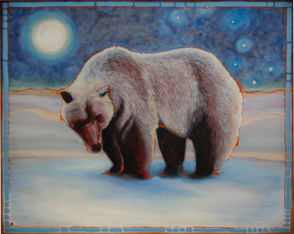 """""""Muskwa Kyayo - When Spirit Awakens"""" ©2012 Janice Tanton. Oil on canvas. 48""""x60"""""""