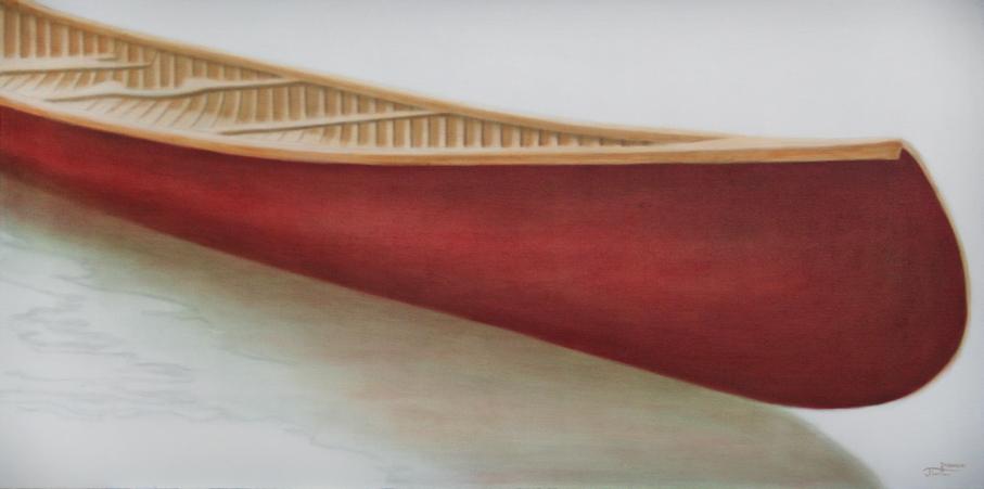 """Canoe - Can You?"" ©2012 Janice Tanton. Oil on linen. 24"" x 48"""