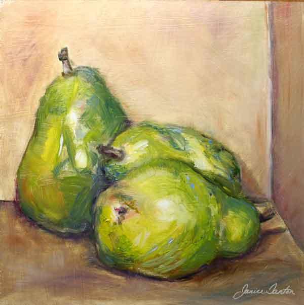 """The Common Pear"" ©2008 Janice Tanton. Oil on panel. 8""x8"""