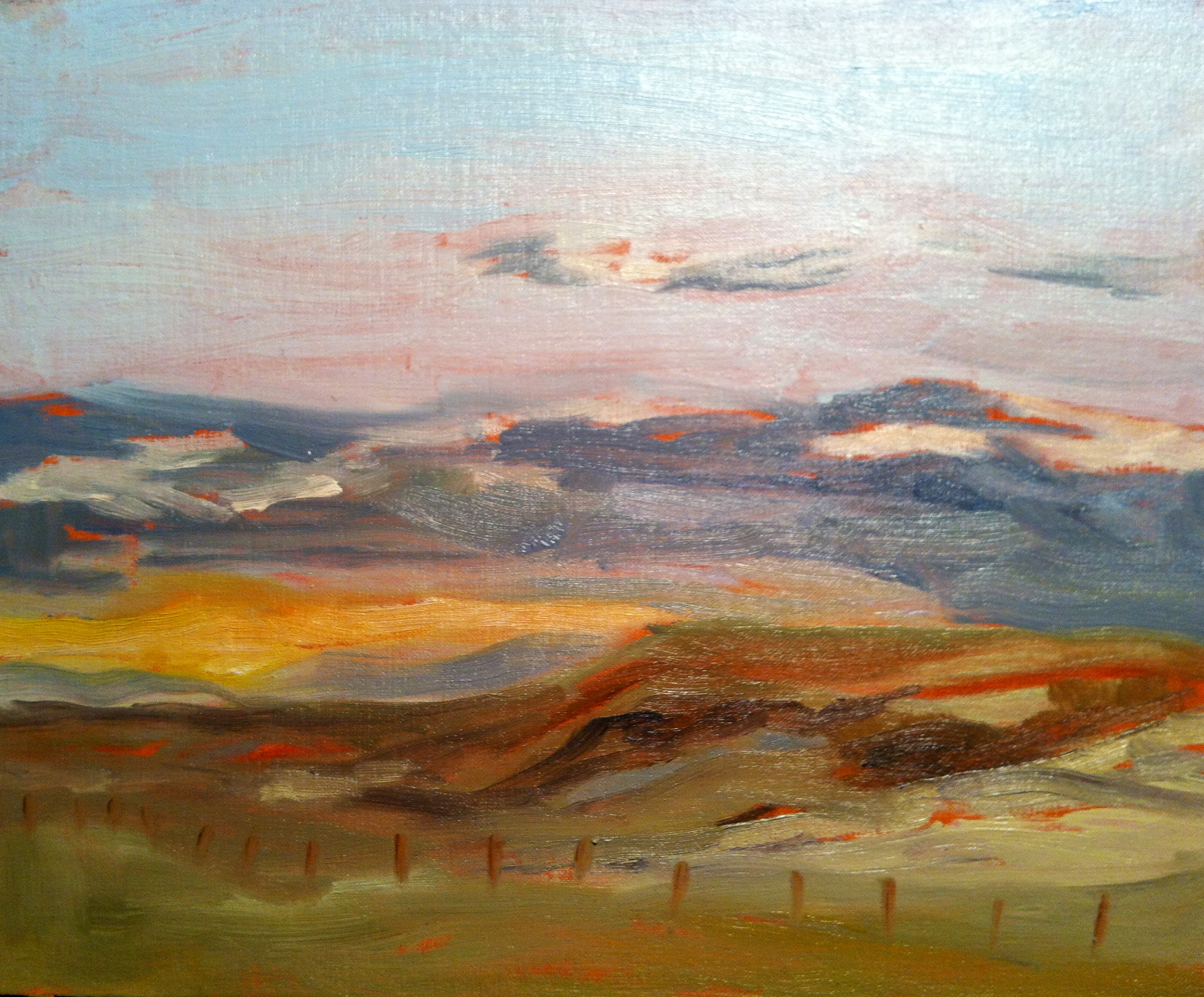 """""""Evening Sunset at Siksika"""" ©2012 Janice Tanton. Oil on linen panel. 8""""x10"""""""