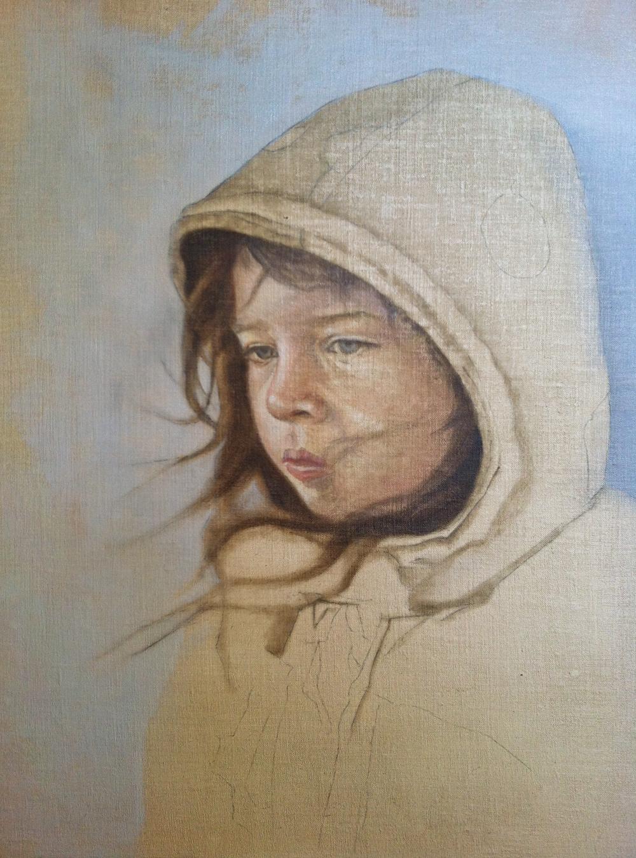 "The Artist's Daughter Work In Progress ©2012 Janice Tanton. Oil on linen. 14""x18"""