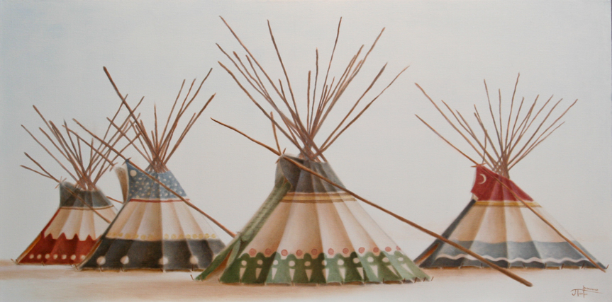 """CAMP :: The Lodge Series-""""The Brother's Lodges"""" ©2012 Janice Tanton. Oil on linen. 24""""x48"""""""
