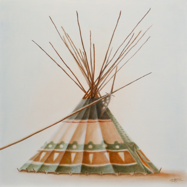 "CAMP :: The Lodge Series - ""Squash Sisters Lodge"" ©2012 Janice Tanton. Oil on linen. 30""x30"""