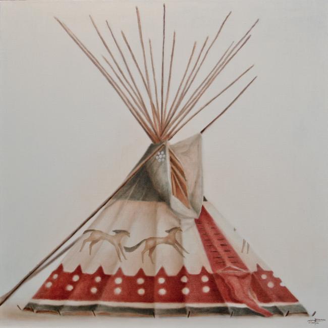 "CAMP :: Lodge Series ""Running Horses Lodge"" ©2012 Janice Tanton. Oil on linen. 30""x30""."