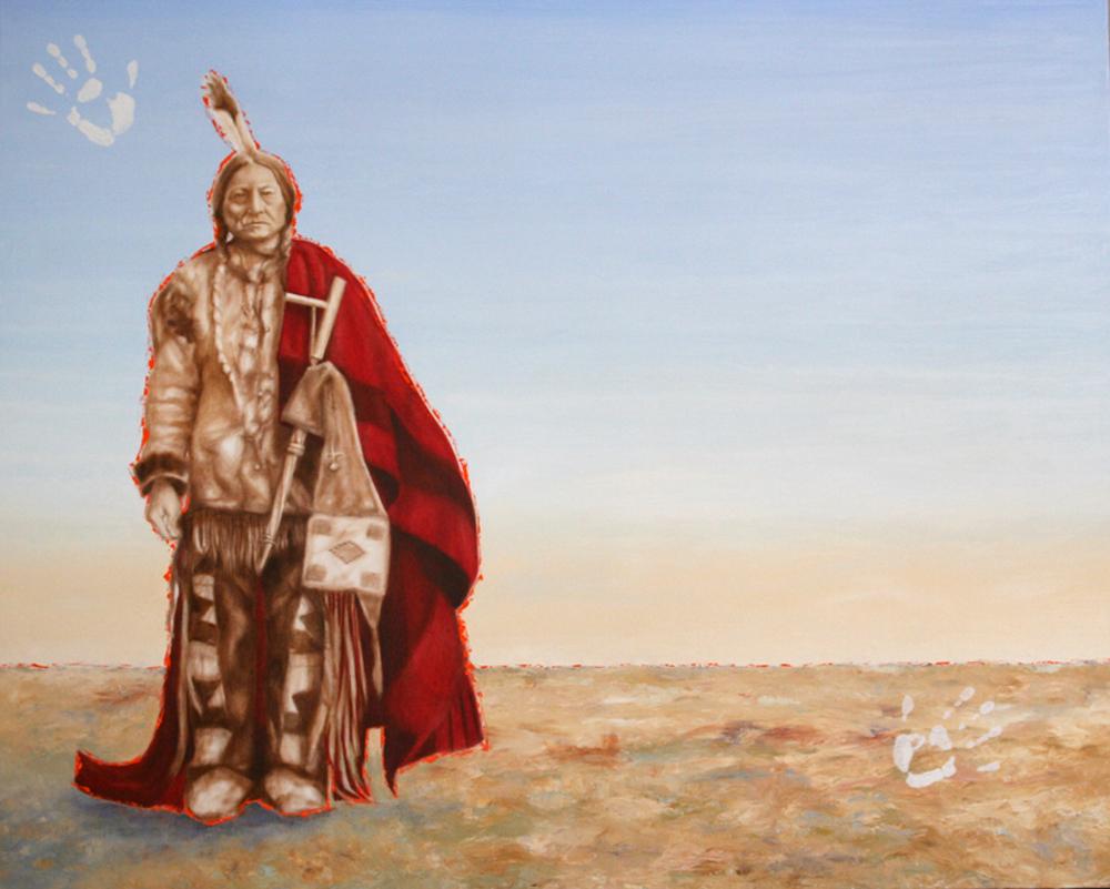 """Sioux. Me."" ©2010 Janice Tanton. Oil on canvas. 48""x60"""
