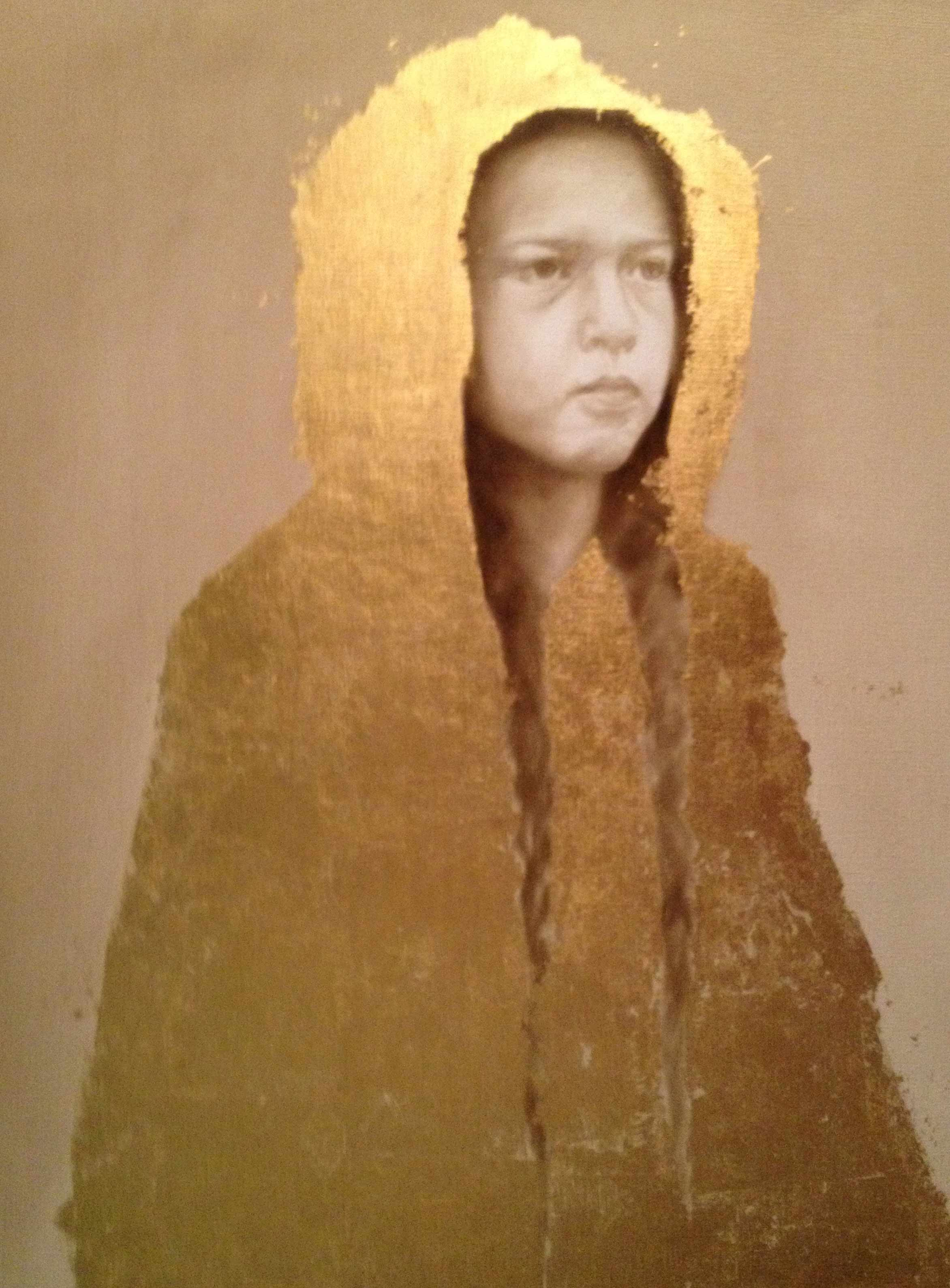 """Work In Progress - """"The Yellow Raincoat"""" ©2012 Janice Tanton. Oil and 24k gold on linen. 24""""x 48"""""""
