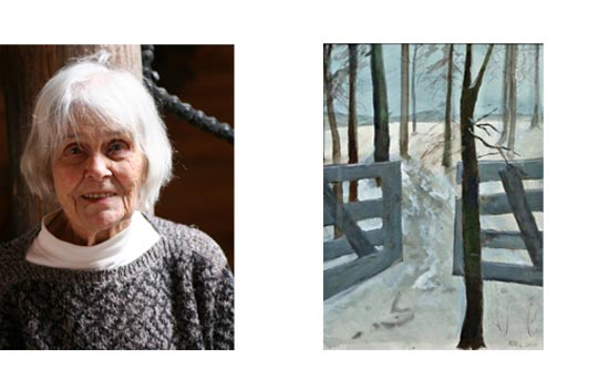 Neel de Wit-Wibaut pictured here with one of the winter scenes she is so fond of painting. Neel maintains a simple lifestyle in the country to support her connection to nature.