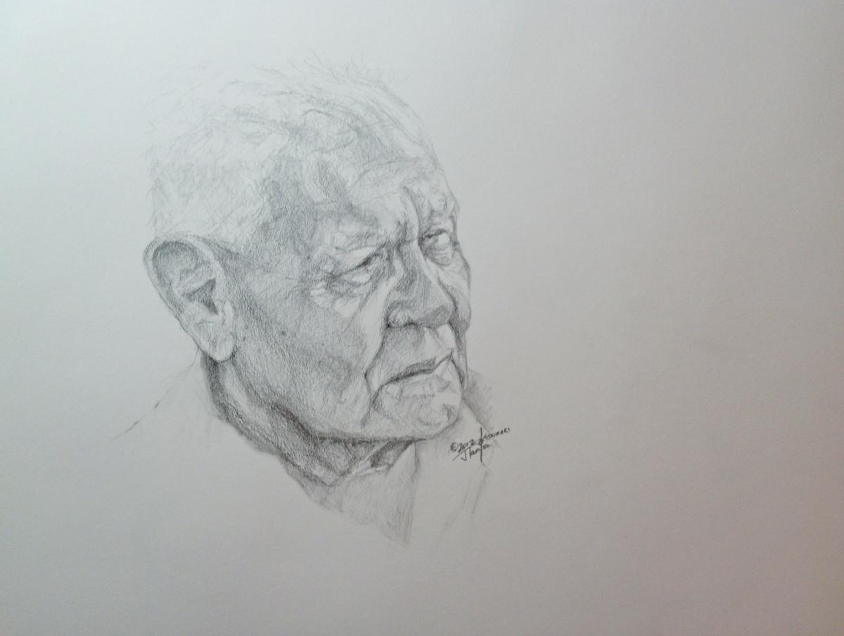 "Tom Crane Bear - Preliminary Sketch - ©2012 Janice Tanton. Graphite on paper. 14""x18"""