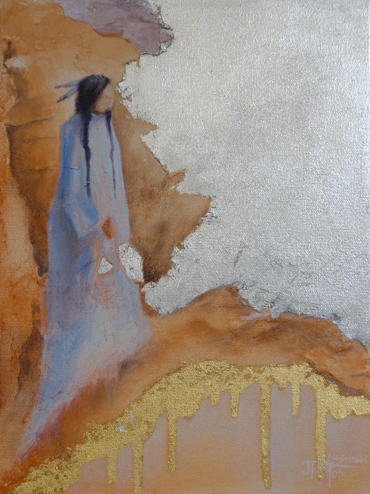 """""""Walks Into Day"""" ©2012 Janice Tanton. Mixed Media. 9""""x12"""""""