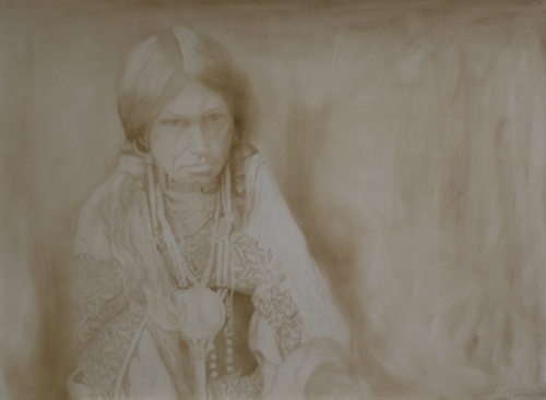 """Jicarillo"" - ©2012 Janice Tanton. Work in Progress. 35"" x 48"". Oil on linen underpainting."
