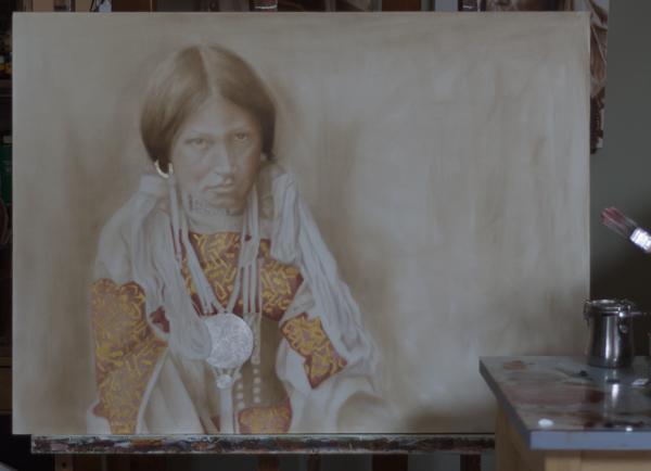 "Work In Progress - ""Jicarillo Girl"" ©2012 Janice Tanton. Oil, gold and silver leaf on linen. 40""x60"""