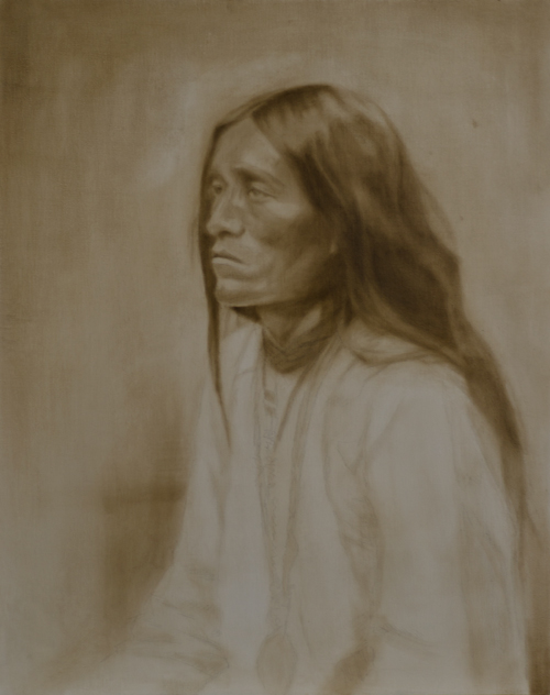 """Apache"" ©2012 Janice Tanton. Oil on linen. 24""x36"""