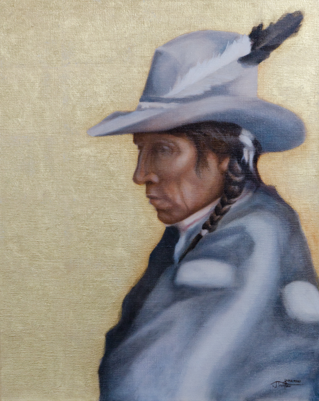 """Many Shot - Blackfoot"" ©2012 Janice Tanton. Oil & 22k gold on linen. 16""x20"""