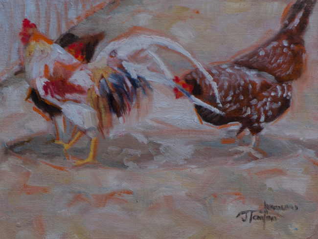 """Three Paces Behind"" ©2012 Janice Tanton. Oil sketch on linen panel. 6""x8"""