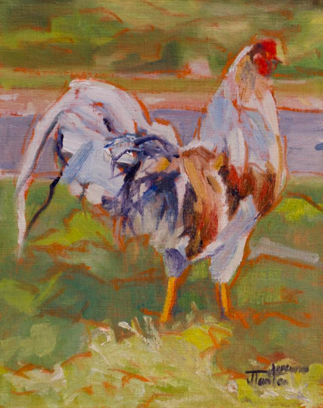 """Fancy Pants"" ©2012 Janice Tanton. Oil on linen panel. 8""x10"""