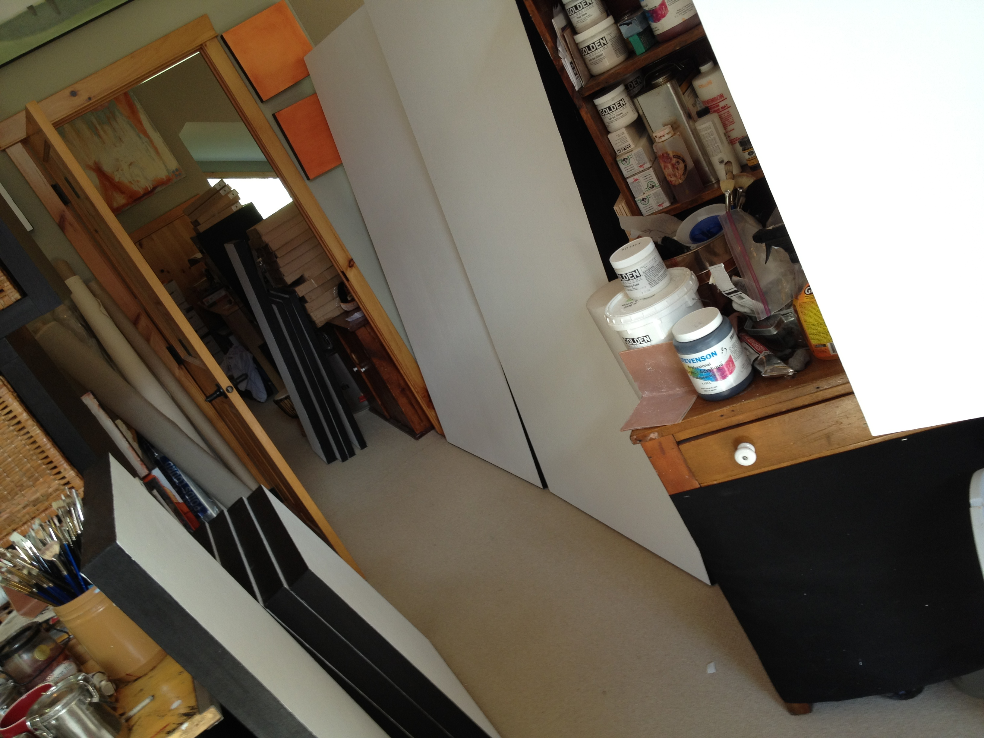 Blank canvasses in the studio