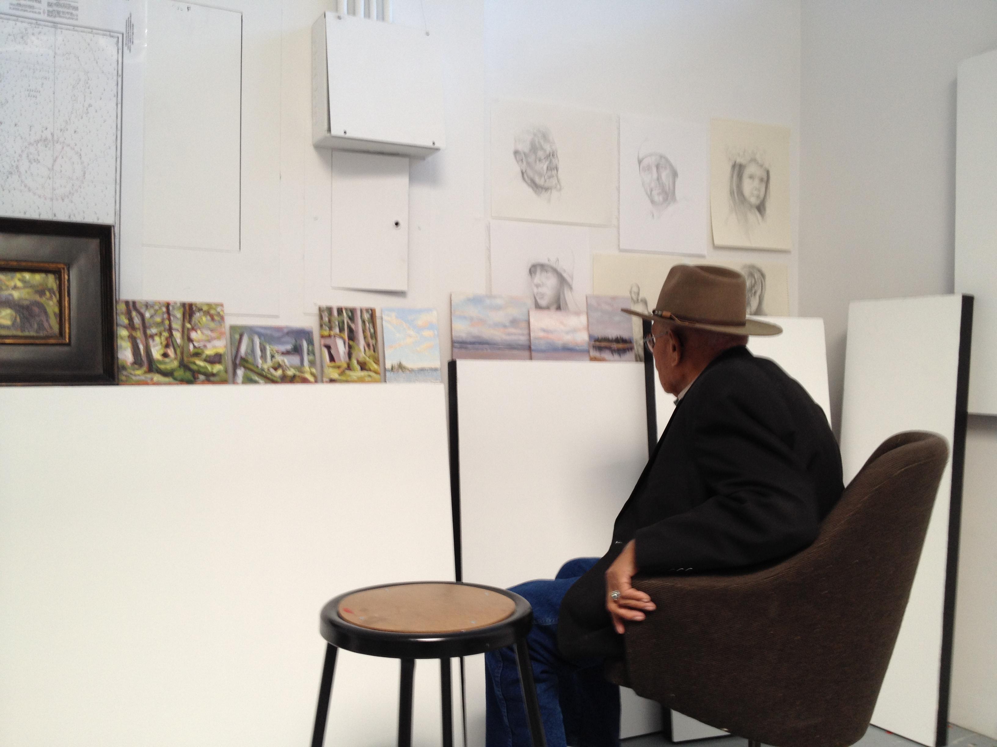 Tom Cranebear in my studio at The Banff Centre