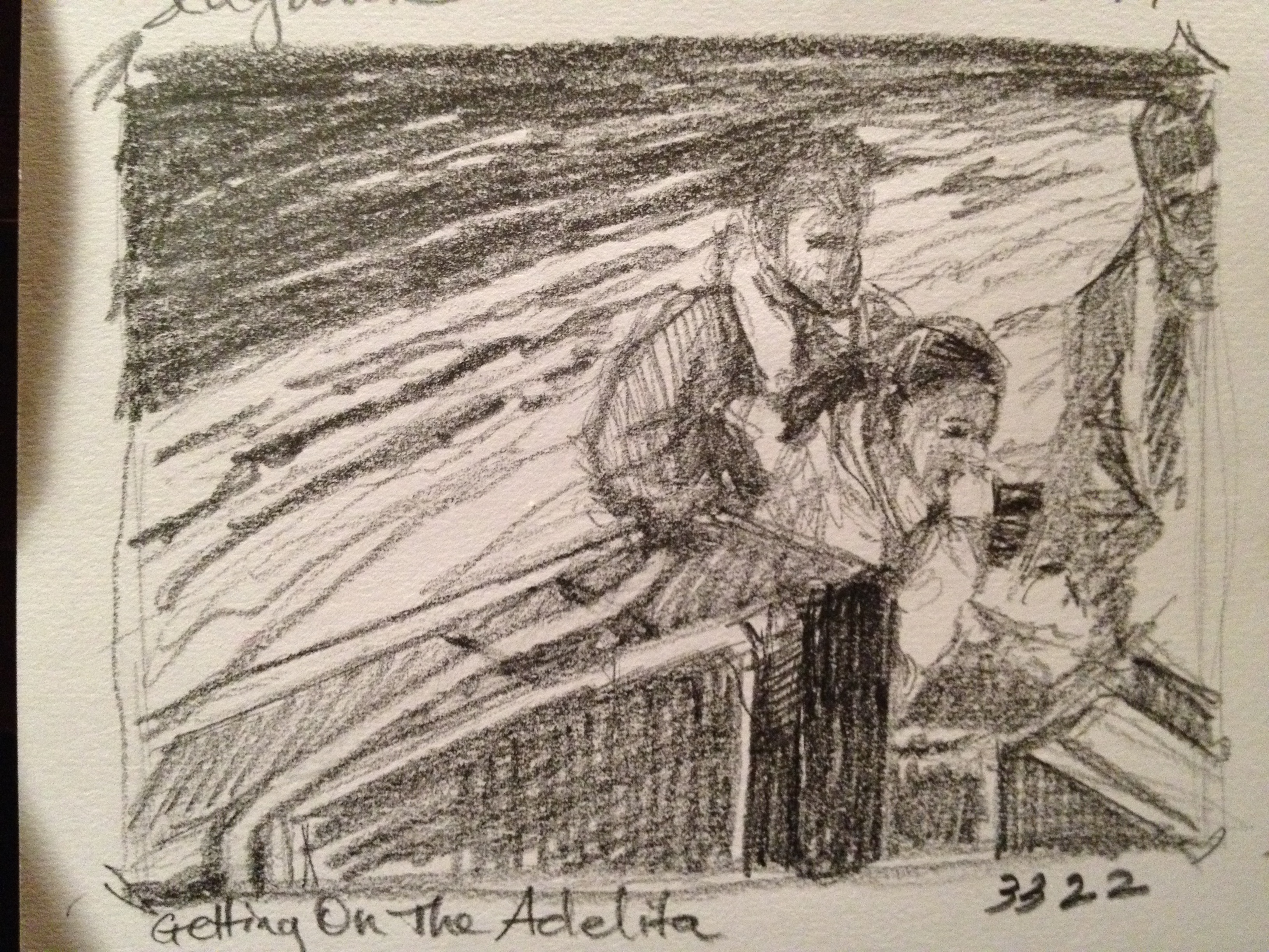 Getting On The Adelita at Sedgwick Bay - Thumbnail sketch ©2012 Janice Tanton.