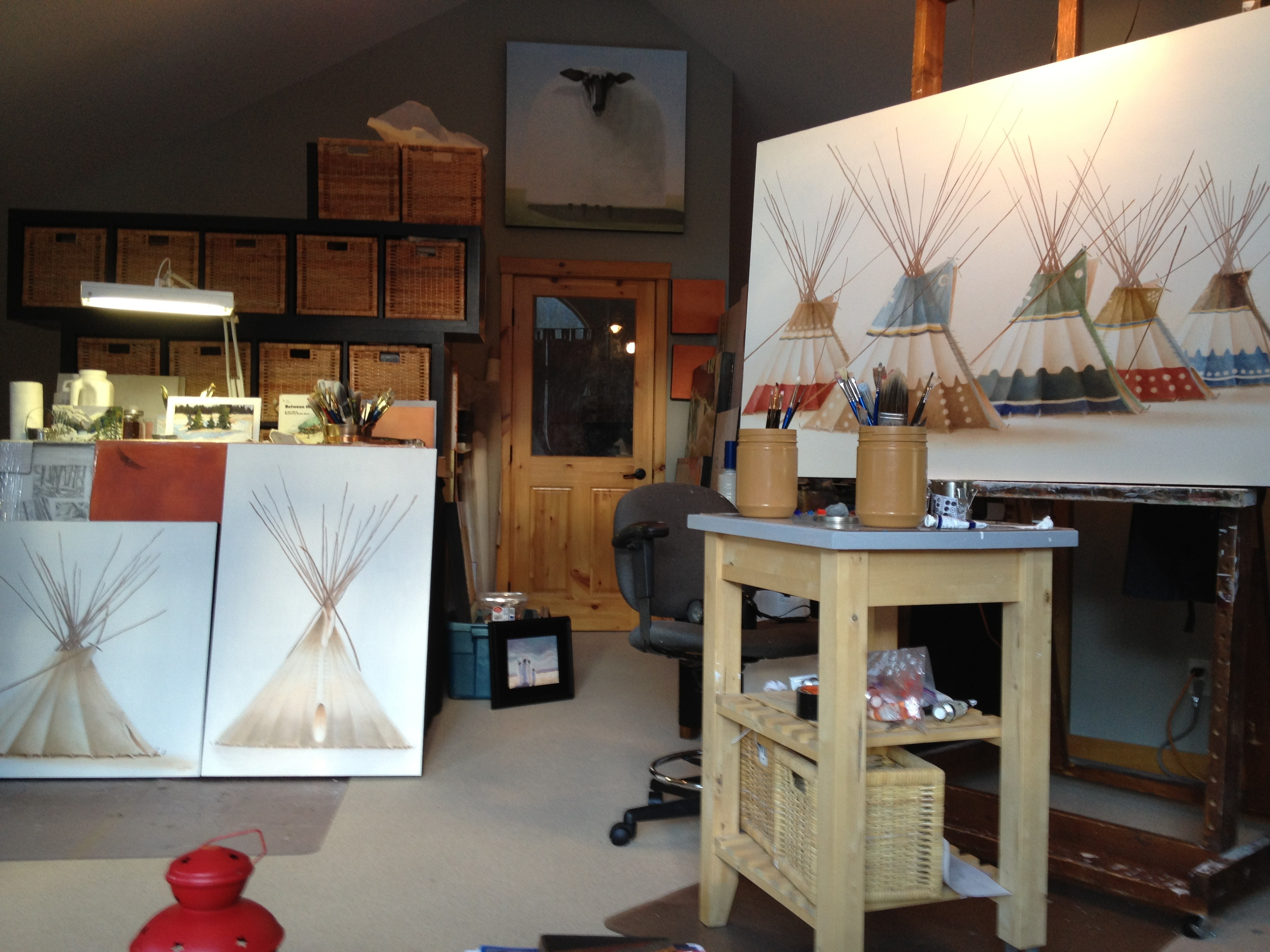 Works in Janice Tanton's studio waiting to be delivered to OAG for CAMP