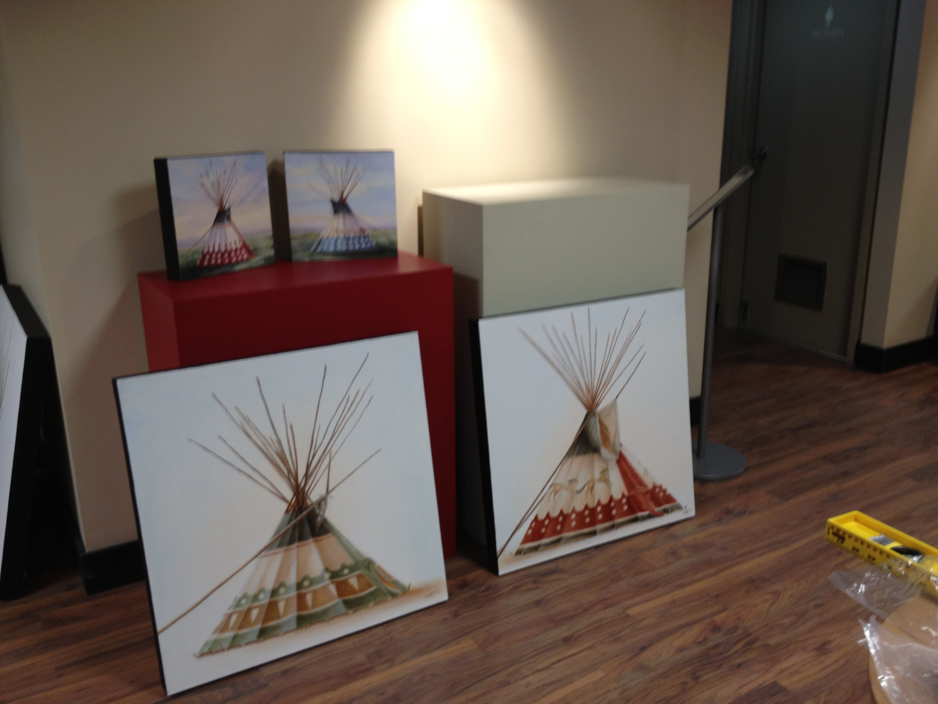 Works waiting to be hung at the Okotoks Art Gallery, Janice Tanton - CAMP exhibition