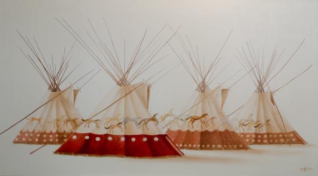 """""""Spirit Horses Lodge"""" ©2013 Janice Tanton. Oil on belgian linen. 40""""x72"""" Purchased by Cenovus Energy Inc."""