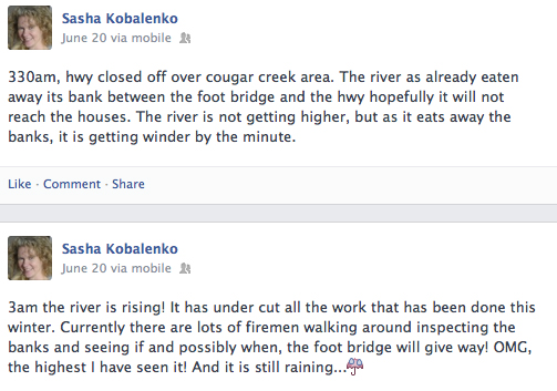 Canmore Cougar Creek Flooding