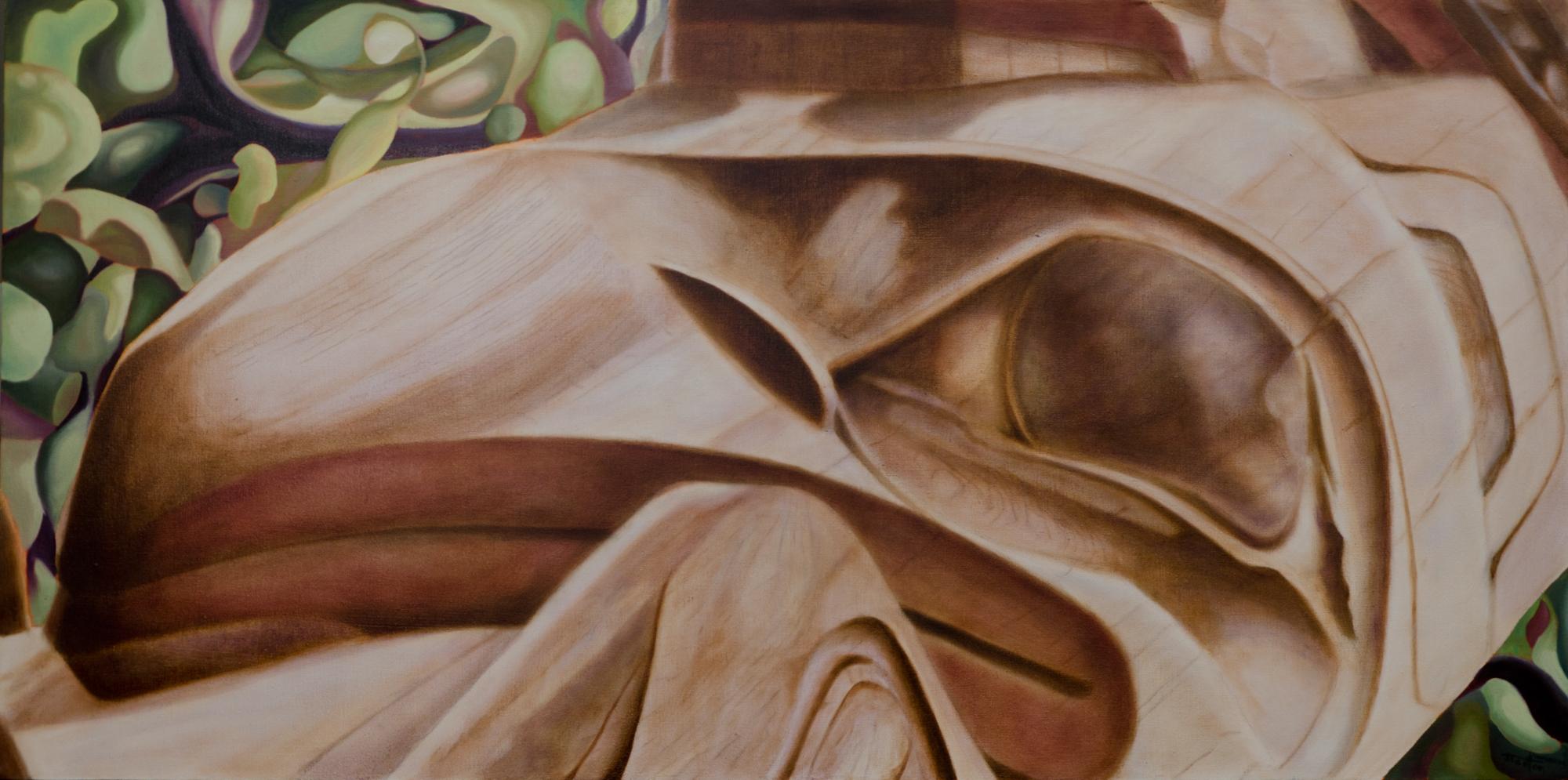 """""""Old Masset Breathing"""" ©2013 Janice Tanton. Oil on linen. 24""""x48"""