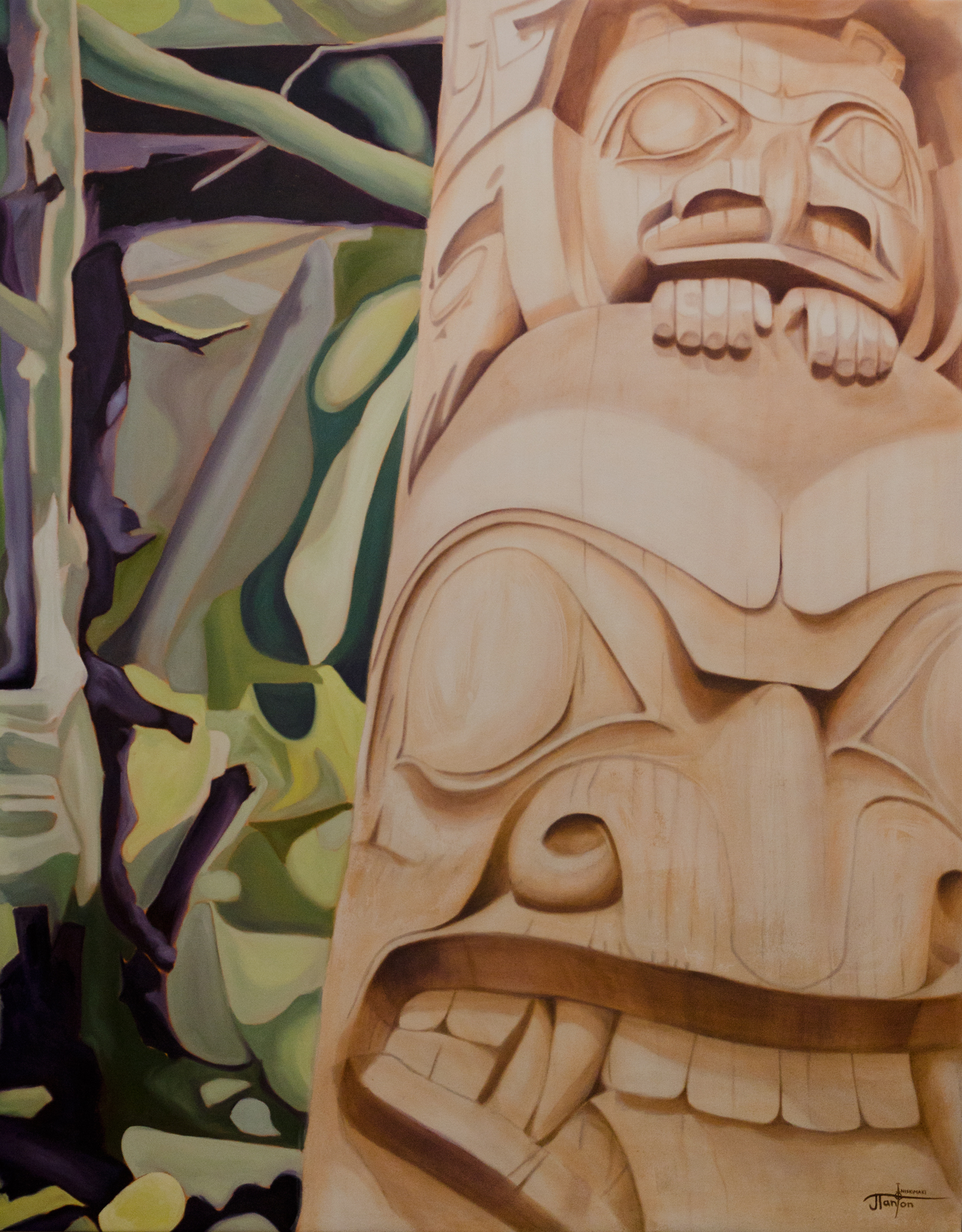 """""""Xuuajii,St'aw & The Forest"""" - ©2013 Janice Tanton. Oil on canvas. 60""""x76"""""""