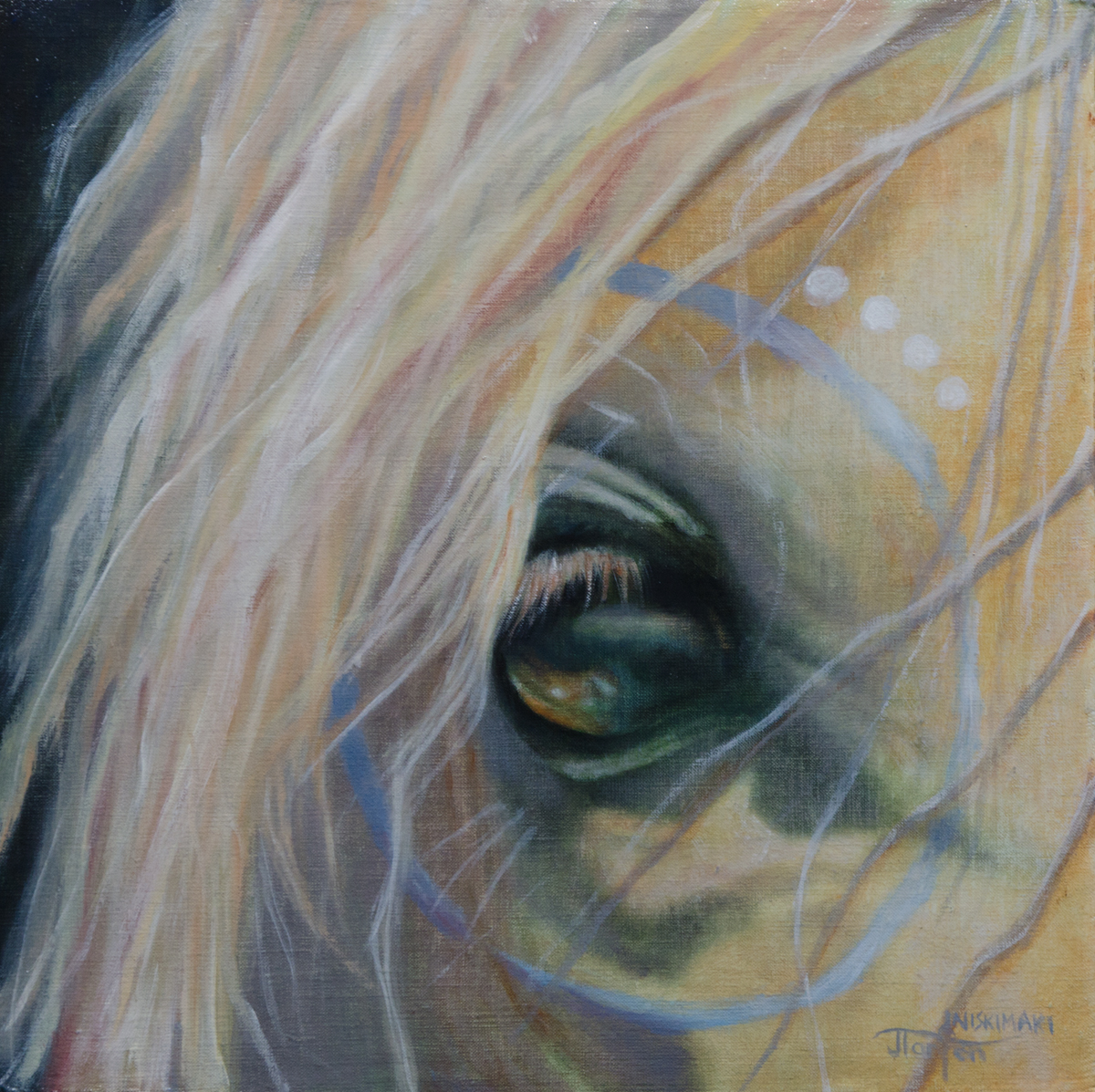 """Ponokamitaa - Heals The Soul"" ©2014 Janice Tanton. Oil on linen panel. 12""x12"" plus frame."