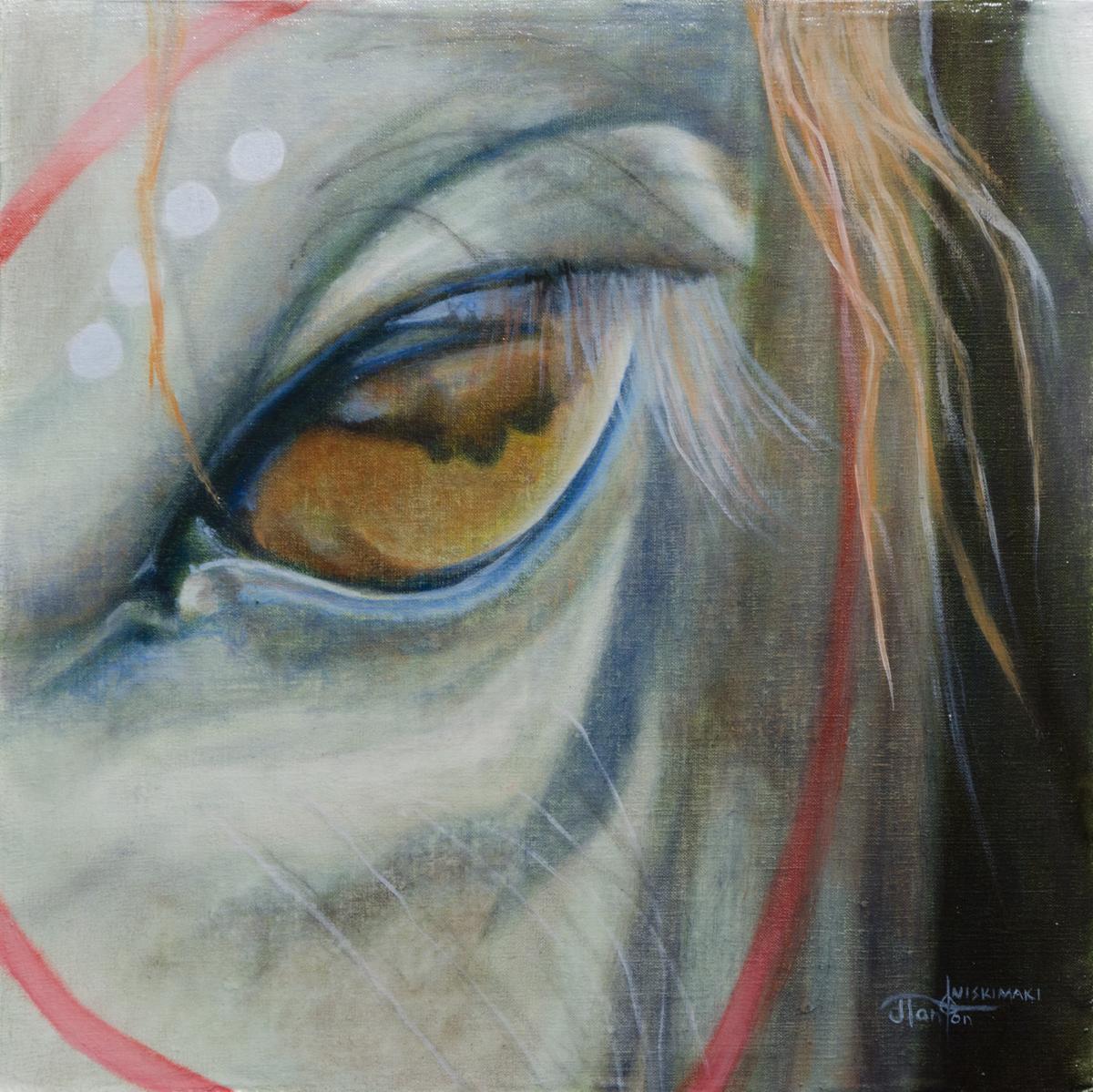 """""""Siksika Ponokamitaa"""" ©2014 Janice Tanton. Oil on linen panel. (Framed) 12""""x12"""""""