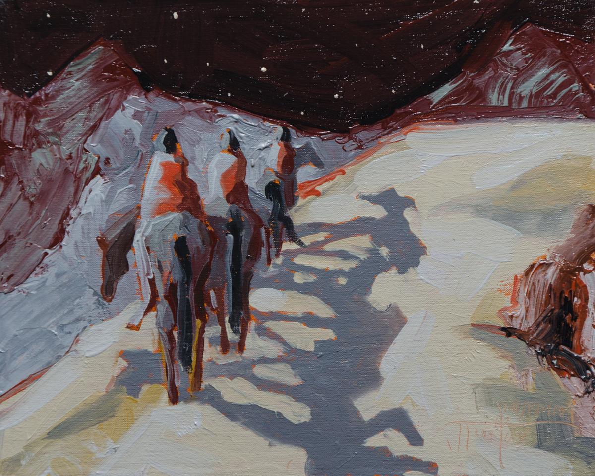 """""""Starlight Journey"""" ©2014 Janice Tanton. Oil on linen panel. (Framed) 8""""x10"""""""