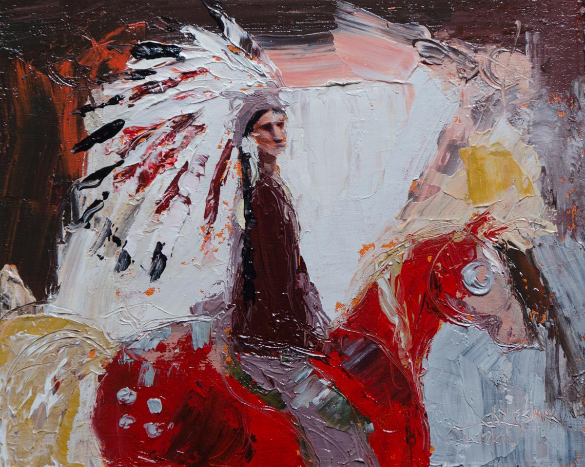 """Nitawahsin"" ©2014 Janice Tanton. Oil on linen panel. (Framed) 8""x10"""