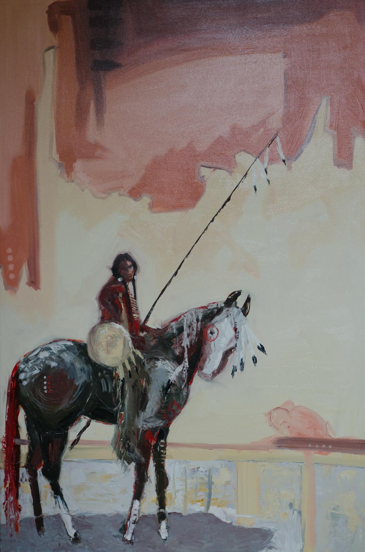 """""""Naatoyiitapiiksi_Ponokamitaa"""" (Powerful Spirit Beings Horse) ©2014 Janice Tanton. Oil on canvas. 40""""x60"""""""