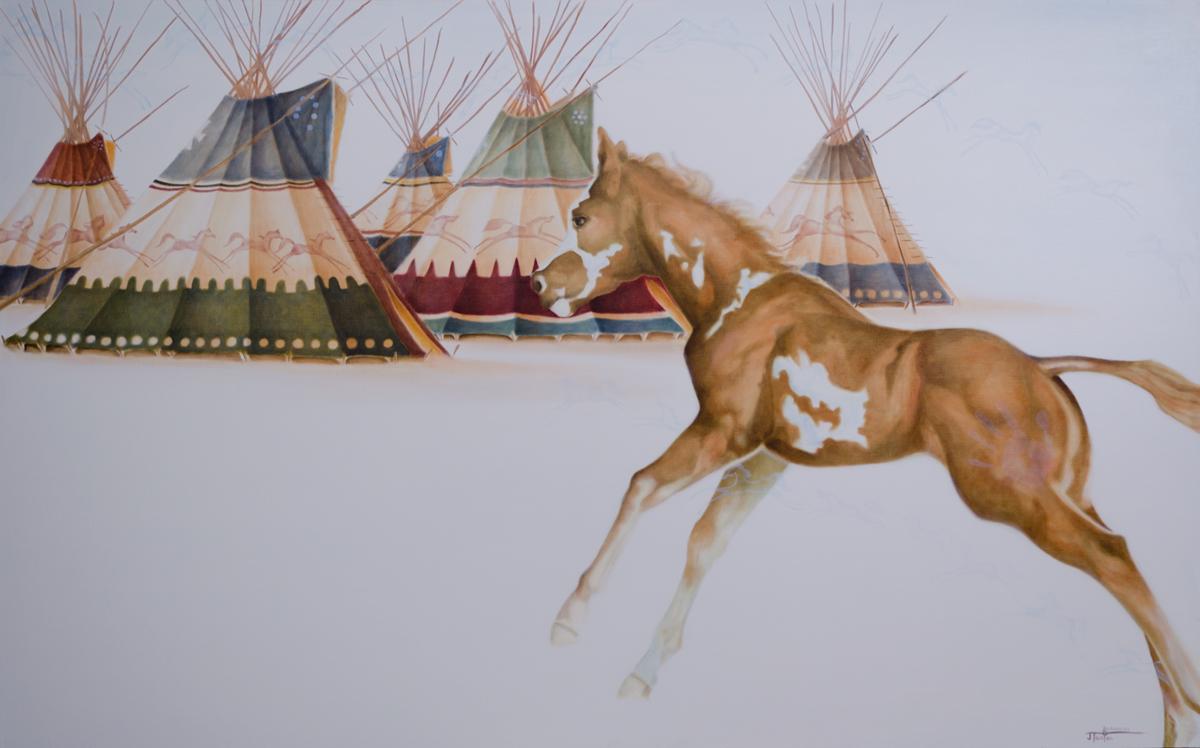 """""""Ponokamitaa - The Spirit of The Horse"""" ©2014 Janice Tanton. Oil on linen. 48""""x72"""""""