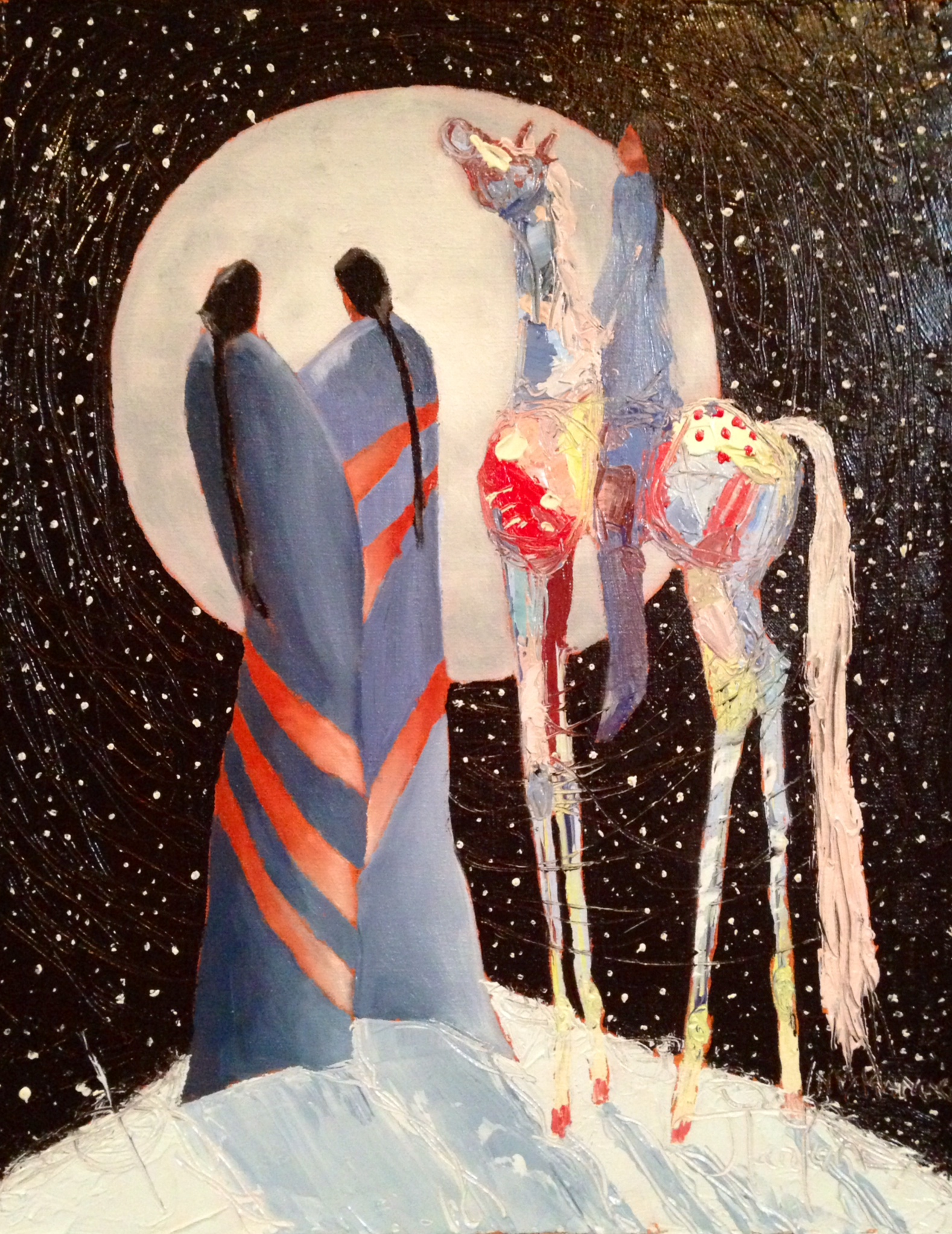 """Once In A Blue Moon"" ©2014 Janice Tanton. Oil on Linen, Framed. ($1025). 11""x14"" Available at Canada House Gallery, Banff, AB."