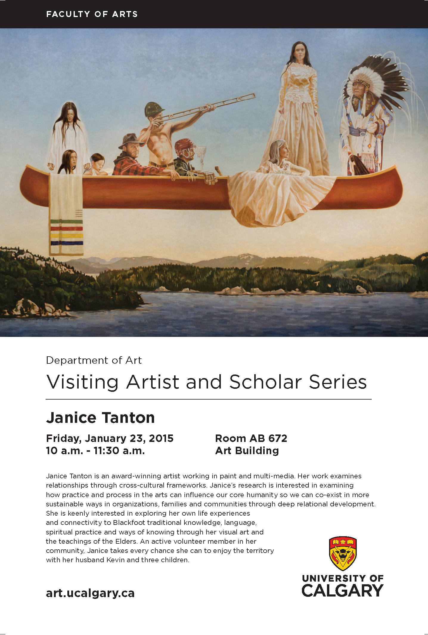 Join me for an Artist Talk as the Visiting Artist and Scholar, Friday, January 23rd at the University of Calgary, Calgary, AB
