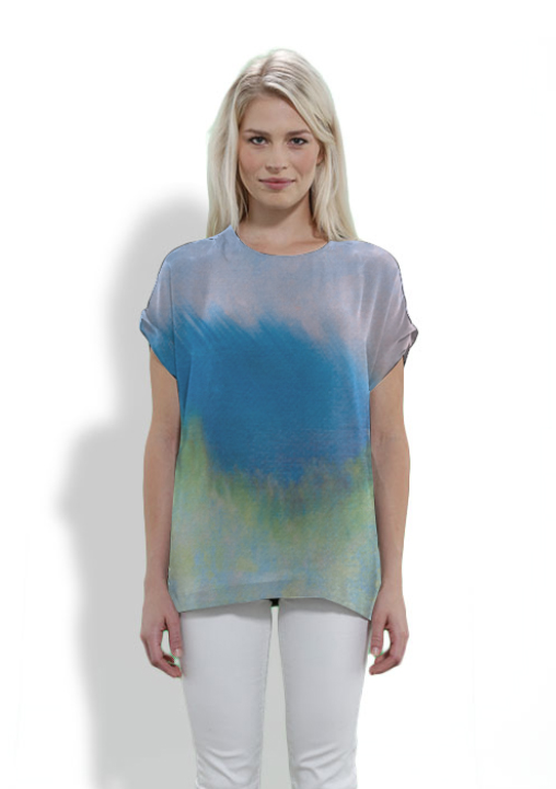Janice Tanton, Blue Grass Dancer silk top by VIDA Voices