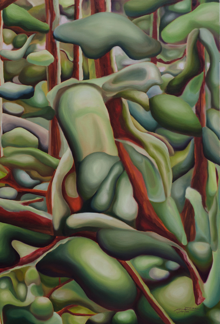 """Detail from""""Emergence"""" ©2015 Janice Tanton. Oil on linen. 36x48 (Private Collection)"""