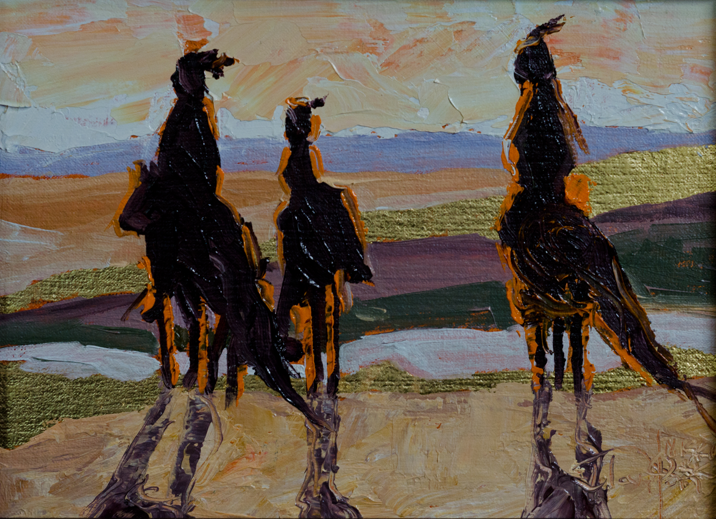 """""""How Many Do You Think Are Coming?"""" Oil and 22k gold on linen. ©2015 Janice Tanton. 6""""x8"""""""
