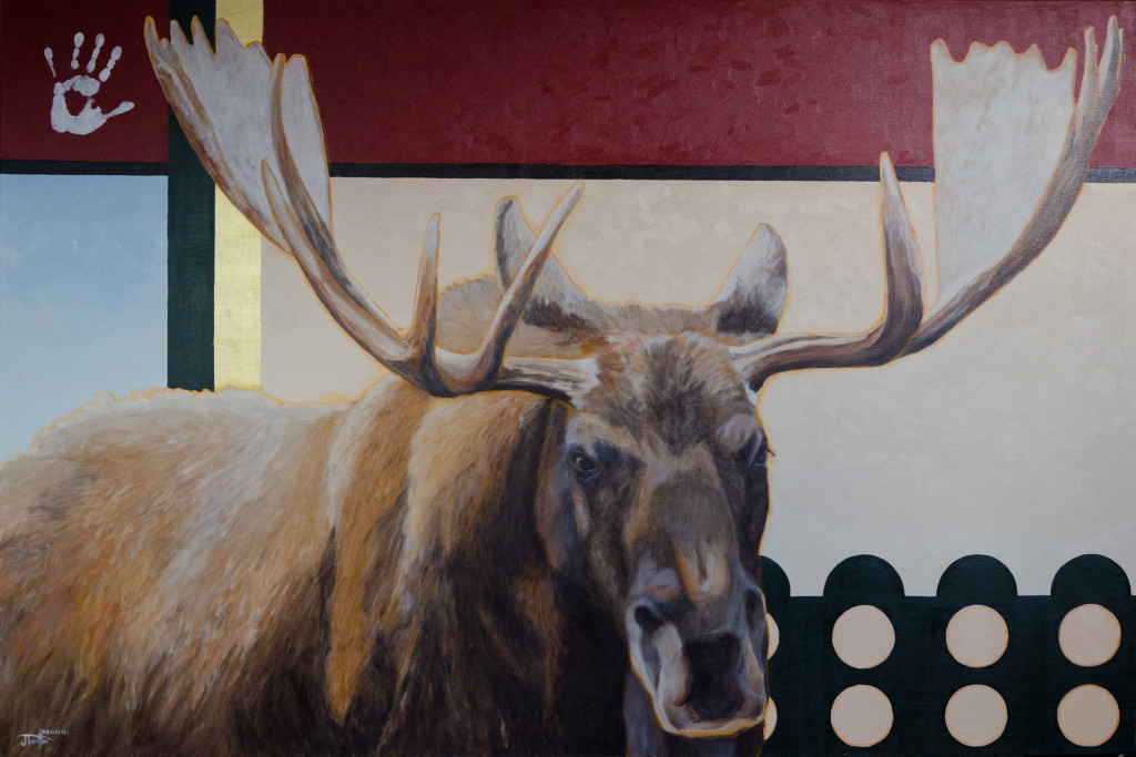 "Janice Tanton Canadian Artist - ""Sikstssoo"" ©Janice Tanton. Oil and 22k gold on linen. 48x72"